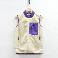 Patagonia Retro X Deep Pile Fleece Vest Jacket Womens Size Small Beige Purple