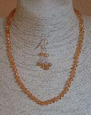 Collana girocollo + orecchini rondelle sfaccettate quarzo citrino Argento 925