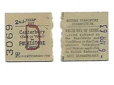 Half 2nd Cheap Day Return Railway Ticket Folkestone Central / Canterbury 1963