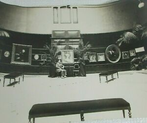 1880s Antique Interior Photo Museum Artist With Artwork Exhibition