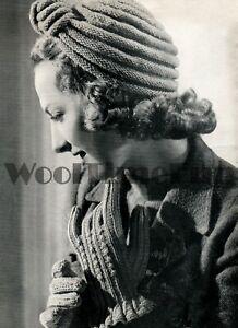 Knitting Pattern Vintage 1940s/WW II Ladies Turban/Hat & Gloves.
