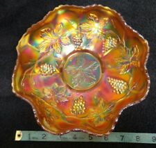 "Vintage Carnival glass bowl. Grapes and vine pattern.  9"" diameter"
