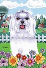Outdoor Garden Flag Maltese Dog Breed Spring Colors Small Flag made Usa