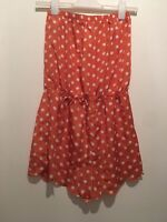 UK 10 ORANGE/WHITE POLKA DOT PLAYSUIT TOWIE/SUMMER/FESTIVAL/BEACH/BOHO/CELEB/GYM
