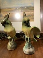 "(2) Vintage Green Yellow Glazed Ceramic Cockatoo Parrot Figurine 8.5""~Stunning"