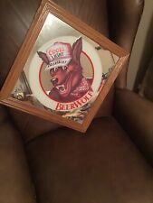 Vintage Coors Light Beer Wolf Framed Mirror Pub Bar Sign 1986 Man Cave. 17x17