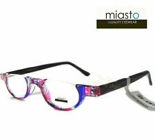 2 PAIRS/ 2 COLORS~MIASTO TOP RIMLESS ROUND OVAL HALF MOON READING GLASSES+2.75