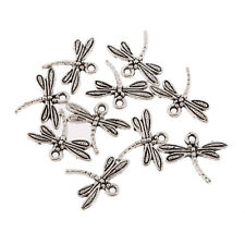 dragonfly Tibetan Silver Bead charms Pendants fit bracelet 10pcs 15x18mm