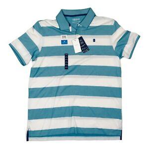 Izod Mens Size L Striped Polo Shirt Advantage Performance Stretch Short Sleeve