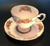 Tuscan Pedestal Teacup And Saucer - Pale Pink With Garden Flowers - England