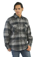 YAGO Men's Casual Plaid Flannel Long Sleeve Button Up Shirt Grey/B4B (S-5XL)