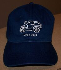 """*RARE* Life is Good Mens NATIVE JEEP """"Off Road"""" Hat Chill Cap BLUE Womens Unisex"""