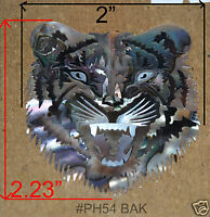 PH54# Tiger Head Inlay In White, Black Mother of Pearl & Red Abalone 1.5mm thick