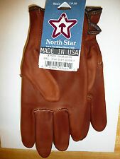 #750 LARGE Brown Goatskin Leather MOTORCYCLE Gloves Union Made in the USA