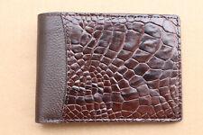 Genuine Crocodile Leather Skin Men's Money Clip Bifold Wallet Brown