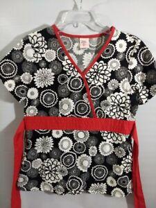 Barco Black Red & White Ladies Size Small Nursing Medical Scrub Lab Top Pockets