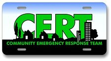 CERT Community Emergency Response Team License Plate - Fire - Rescue