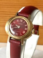 VTG Mid Century Timex Gold Tone Red Face Watch Electric Collectible