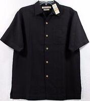 Tommy Bahama $110 Cabana Silk Solid-Black 100% Silk Hawaiian Camp Shirt