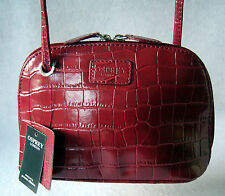 OSPREY London - LIBBY small crossbody bag in mock croc red leather - NEW RRP £95