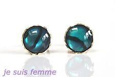 Boucles d'Oreilles  OR JAUNE MASSIF  Nacre Ormeau  5 mm  (f404) (Ohrringe) 8k