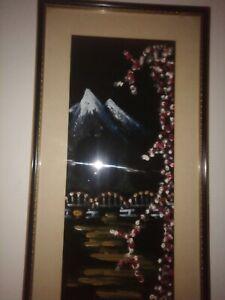VINTAGE Oriental  Japanese Cherry blossom Framed  Oil Painting