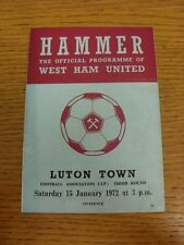 15/01/1972 West Ham United v Luton Town [FA Cup] (Creased, Worn, Subs Noted Insi
