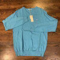 SOUTHERN TIDE Mens Sz Small Aqua Blue Long Sleeve Cotton V-Neck Sweater EXC