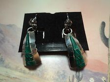 SOUTHWEST NATIVE STERLING SILVER EARRINGS GREEN MALACHITE STONE EARRINGS #51