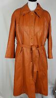 Vintage The Tannery [M. Ward] Women's XL? Leather Trenchcoat, Burnt Orange, EUC