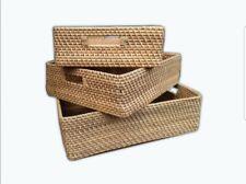 Wicker Slim Storage Baskets Hampers Paper Work Home Kitchen Office Clearance