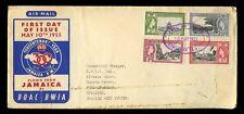 FLIGHT JAMAICA 1955 BOAC BWIA COVER...TERCENTENARY SET to TRINIDAD...FDC