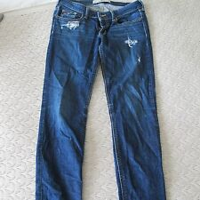 Ladies HOLLISTER blue ripped style jeans size 5R W27 L31