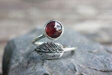 Garnet Sterling Silver Ring Leaf Style Design Style Fine Gemstone Crystal