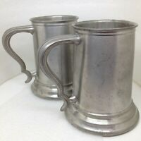 Pair of 2 Vintage Pewter Glass Bottom Tankard Mug Set
