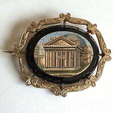 Antiguo 19th Century Micro Mosaico el panteón Roma Broche 40mm X 34mm A/F