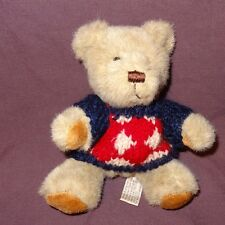 "Tan Teddy Bear Blue Red Cream Sweater Plush Stuffed Animal Toy 6"" Hugfun Int'l"