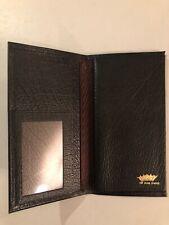 Vintage Black Top Grain Cowhide Pocket Case Wallet Holds Check Book Money Holder