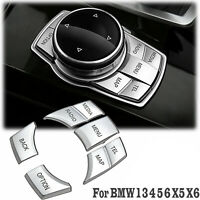 Chrome iDrive Multi Media Button Cover Decor Trim For BMW 1 3 4 5 6 X5 X6