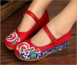 Women Chinese Embroidered Wedge Platform Flower Mary Jane Hidden Heel Shoes Hot