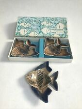 More details for 3 vintage wade whimsie fish boxed aqua dishes in porcelain made in ireland