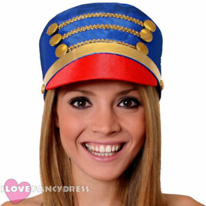 BLUE MAJORETTE HAT MARCHING BAND TOY SOLDIER CHRISTMAS FANCY DRESS ACCESSORY