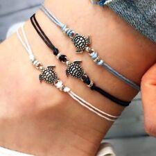 3 PCS String Anklets Rope Bracelets Set Delicate Turtle Charm Foot Bracelet Set
