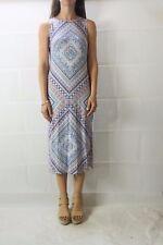 SPORTSGIRL Blue Orange Printed Front Split Hem Maxi Dress Size XS 8