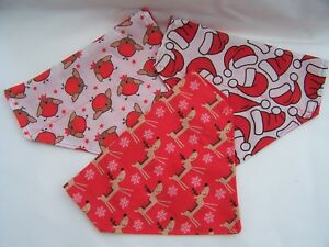 Christmas slide/slip on dog bandana Reindeer Santa hats Robin gift