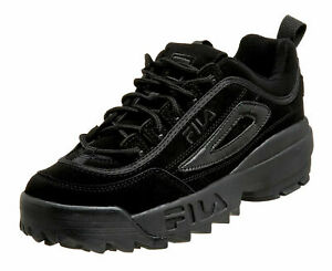 Kid's Fila Disruptor II Triple Black Sneakers FW04481-001 100% Original New