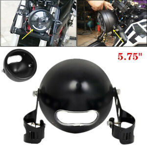 """5.75"""" Retro Motorcycle Racer Headlight Fairing Cover Lamp Housing Mounting Stent"""