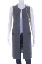 Tart Womens Sleeveless Open Front Long Vest Top Dark Gray Size Extra Small