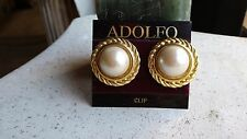 Adolfo Earrings On Card Vintage Fashion Clip-On Faux Pearl Circled Gold Tone