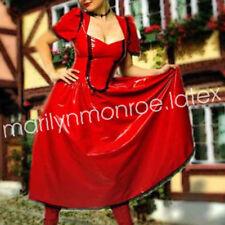 Hot!100%Latex Gummi Rubber Elegant Skirt Red Evening Dress Size XXS-XXL
